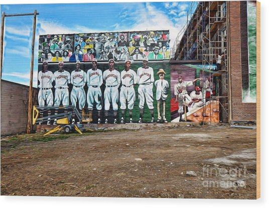 Kc Monarchs - Baseball Wood Print