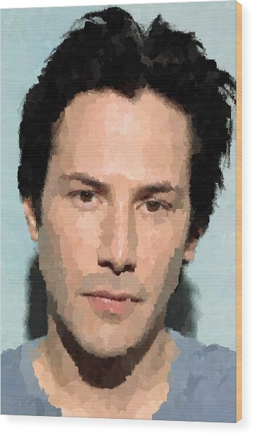 Keanu Reeves Portrait Wood Print