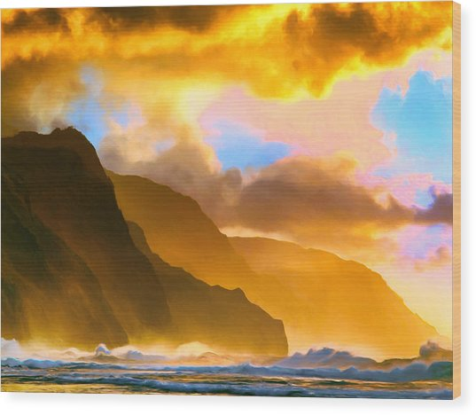 Ke'e Beach Sunset Wood Print