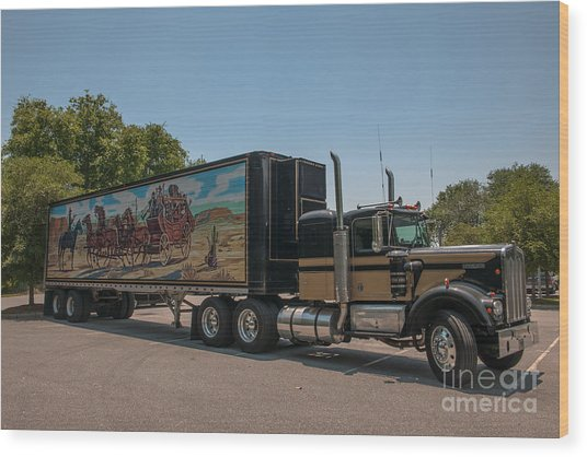 Keep Those Wheels A Truckin Wood Print