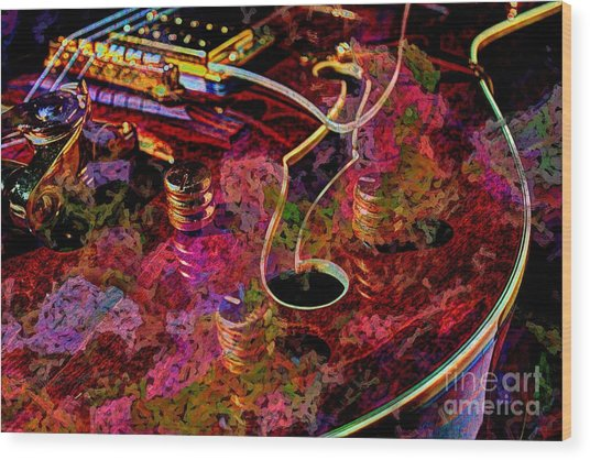 Keeping In Tune Digital Guitar Art By Steven Langston Wood Print by Steven Lebron Langston