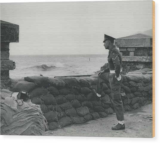 Keeping Watch On The High Tides At Lyn Mouth Wood Print by Retro Images Archive