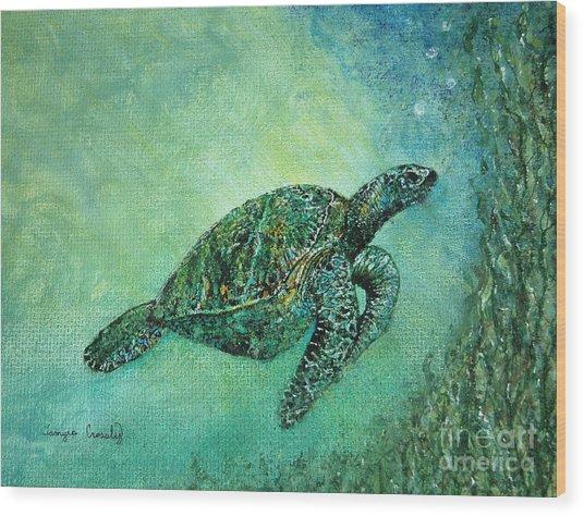 Kelp Forest Sea Turtle Wood Print