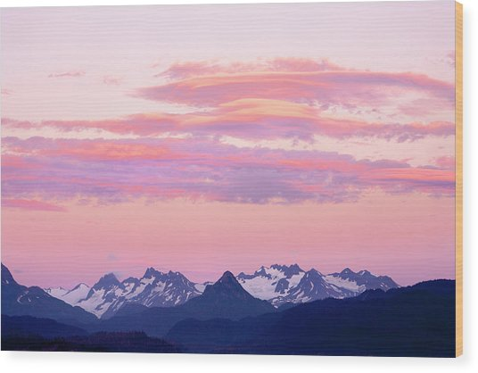 Kenai Mountains At Sunrise Wood Print