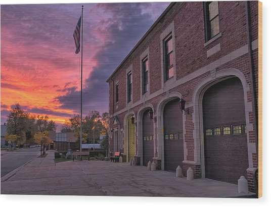 Kenmore Fire Hall Sunset Wood Print