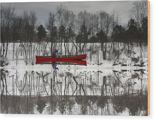 Kennebec Reflection Wood Print