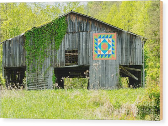 Kentucky Barn Quilt - Thunder And Lightening Wood Print