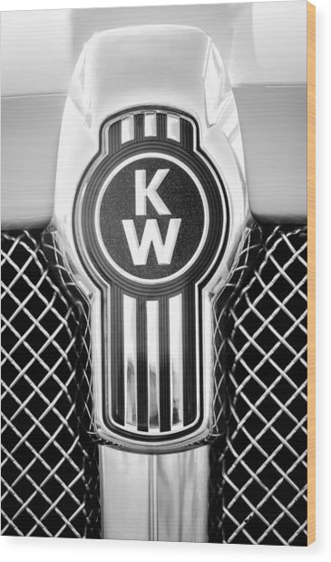 Kenworth Truck Emblem -1196bw Wood Print