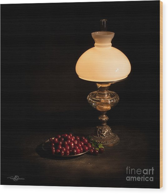 Kerosene Lamp Wood Print
