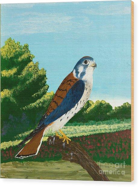 Kestrel And Flowers Wood Print