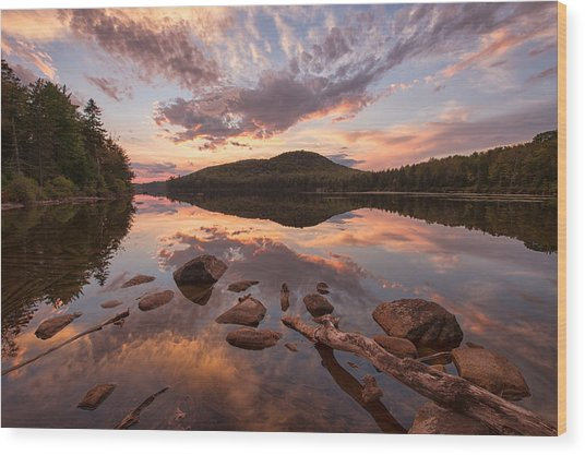 Kettle Pond Sunset Wood Print