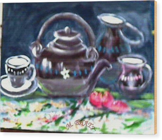 Kettle Set Wood Print by M bhatt
