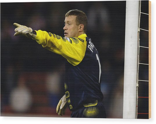 Kevin Pressman Of Sheffield Wednesday Wood Print by Laurence Griffiths