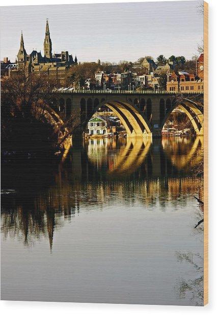 Key Bridge And Georgetown  Wood Print