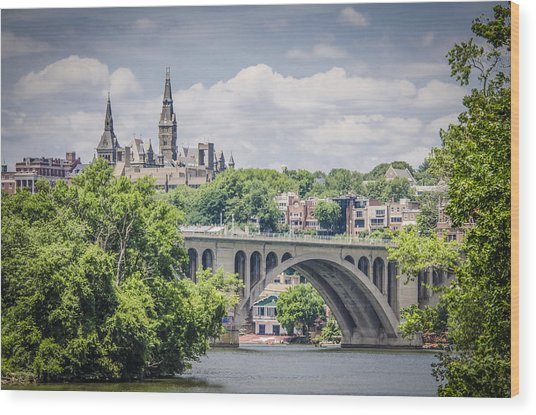 Key Bridge And Georgetown University Wood Print