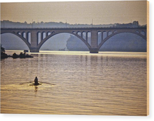Key Bridge Rower Wood Print