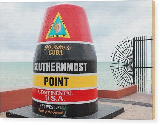 Key West Futhermost South Buoy Wood Print