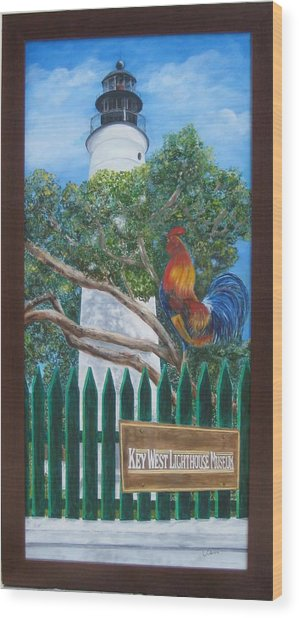 Key West Lighthouse Rooster Wood Print