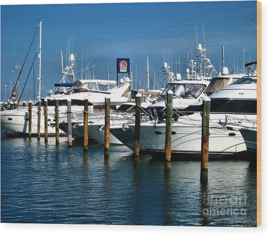 Key West Marina Wood Print by Claudette Bujold-Poirier