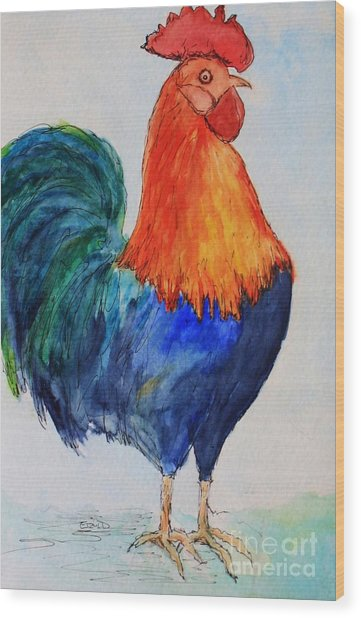 Key West Rooster Wood Print