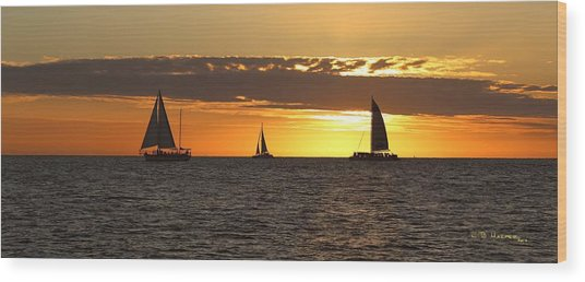 Key West Sunset Fleet Wood Print