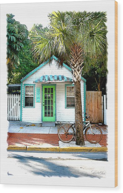 Keys House And Bike Wood Print by Linda Olsen