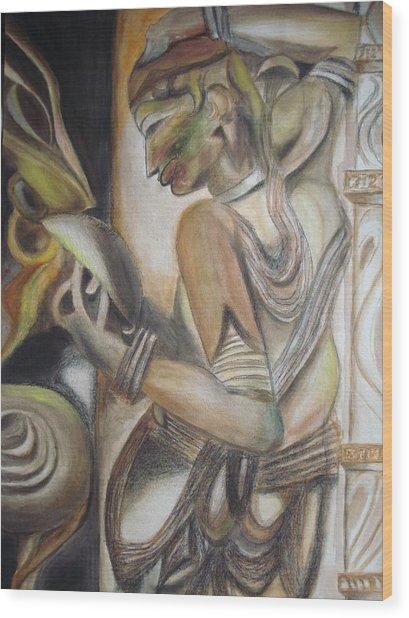 Khajuraho Tantrik Dancer Applying Make-up Wood Print by Prasenjit Dhar