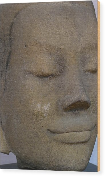 Khmer Head Wood Print