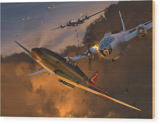 Ki-61 Hien Vs. B-29s Wood Print