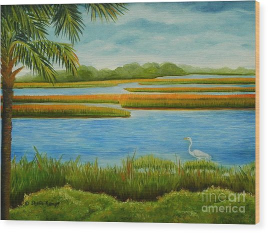 Kiawah Marsh Wood Print