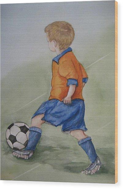 Kick N It ....boy And Soccer Wood Print