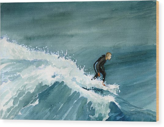 Kid Riding Wave Wood Print