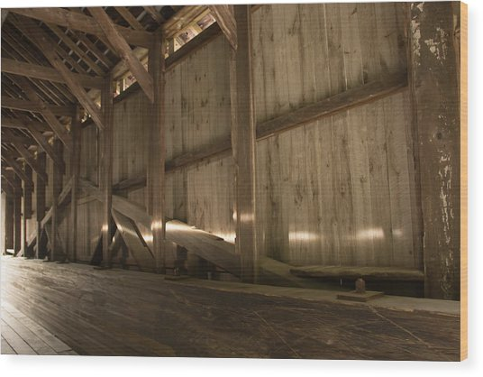 Kidder Hill Covered Bridge Interior Wood Print