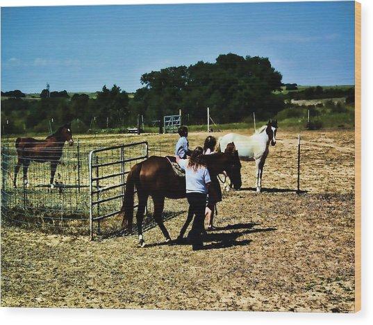 'kids Horse Heaven Paint' Wood Print