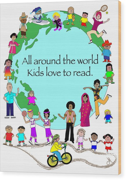 Kids Love To Read Wood Print by Chris Morningforest