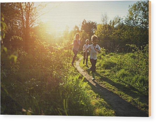 Kids Running In Nature. Wood Print by Imgorthand