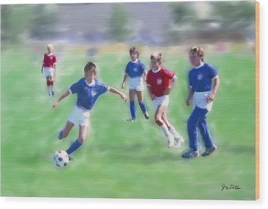 Kids Soccer Game Wood Print