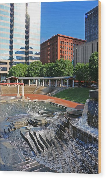 Kiener Plaza Morning Wood Print