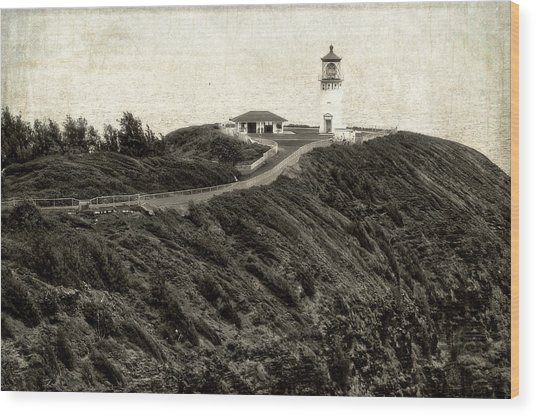 Kilauea Lighthouse Vintage Look And Feel Wood Print
