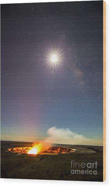 Kilauea Under The Milky Way Wood Print