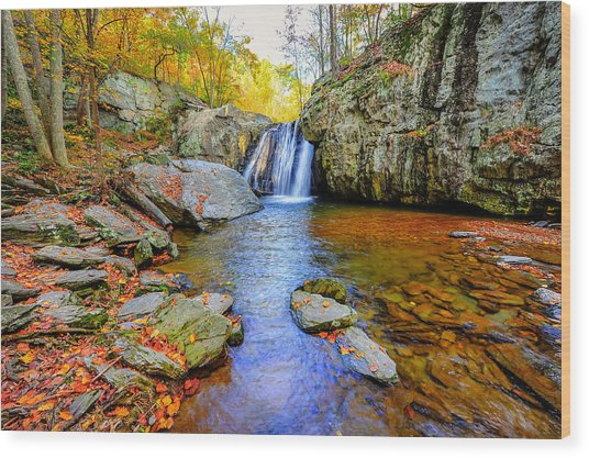 Kilgore Falls In Maryland In Autumn Wood Print
