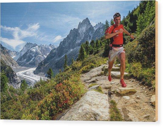 Kilian Jornet Training Above Montenvers Wood Print
