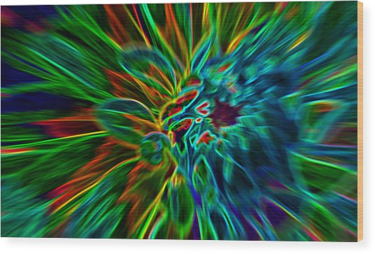 Kinetic Neon Abstract Wood Print by James Hammen