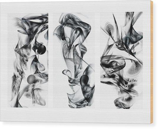 Kinetic Triptych Wood Print