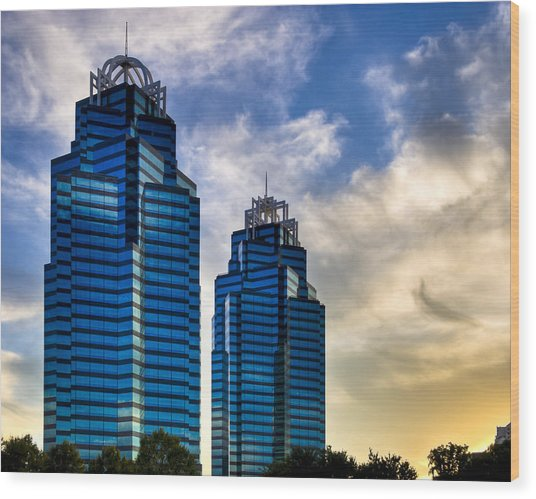 Wood Print featuring the photograph King And Queen Towers - Atlanta by Mark E Tisdale