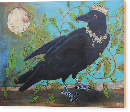 King Crow Wood Print
