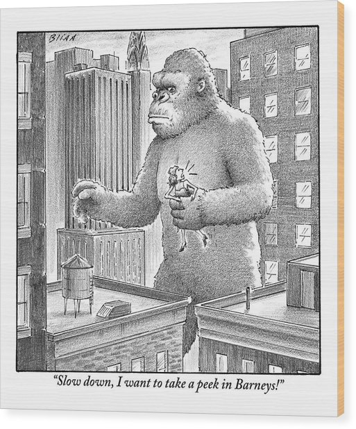 King Kong Stands In A Large City Wood Print