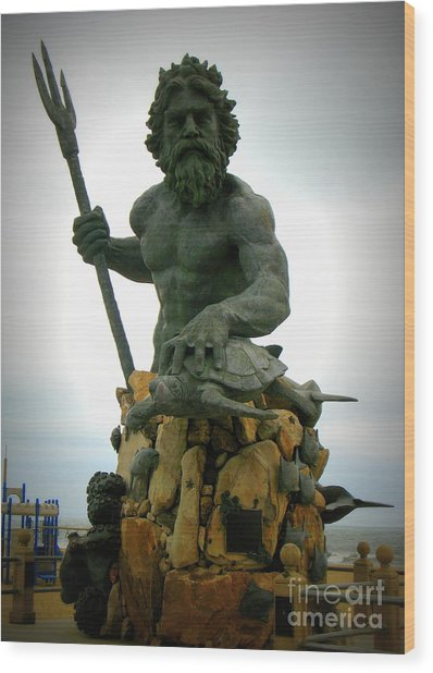 King Neptune Statue Wood Print