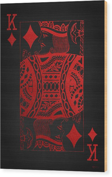 King Of Diamonds In Red On Black Canvas   Wood Print