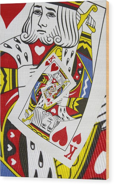 King Of Hearts Collage Wood Print